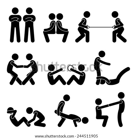 Exercise Workout with a Partner Stick Figure Pictogram Icons - stock vector