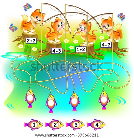 Exercises for children a?? need to find the fish for each kitten and to write the numbers in relevant circles. Developing skills for counting. Vector image. - stock vector