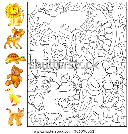 Exercises for young children - needs to find and to paint the animals. Developing skills for drawing and coloring. Vector image. - stock vector