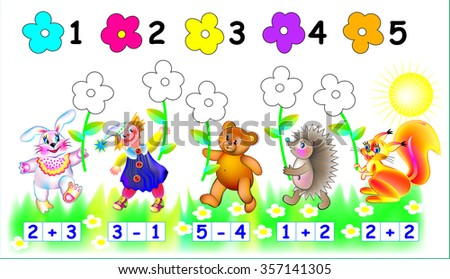 Exercises for young children - needs to paint the flowers in relevant color. Developing skills for counting. Vector image.
