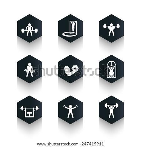 Exercises, trendy dark hexagonal icons vector illustration, eps10, easy to edit - stock vector