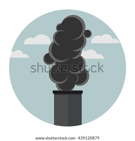 exhaust fumes flat design icon - stock vector