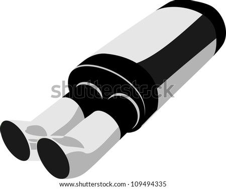 Exhaust pipe isolated on white - stock vector