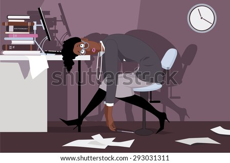 Exhausted black woman sitting in the office late at night, putting her head on a desk, vector illustration, no transparencies, EPS 8 - stock vector
