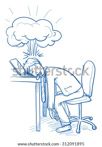 Exhausted business man at his desk with explosion over his head, concept of stress, burnout, headache, depression, hand drawn doodle vector illustration - stock vector