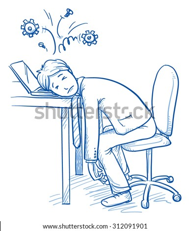 Exhausted business man at his desk with gears over his head, concept of stress, burnout, headache, depression, hand drawn doodle vector illustration - stock vector