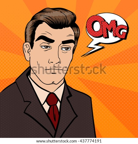 Exhausted Businessman. Sad Man with Expression OMG. Pop Art. Vector illustration - stock vector