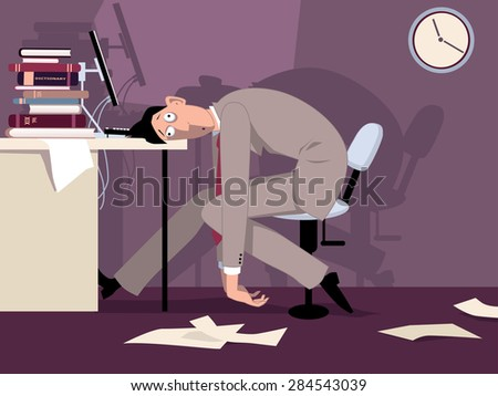 Exhausted man sitting in the office late at night, putting his head on the desk, vector illustration, ESP 8, no transparencies - stock vector