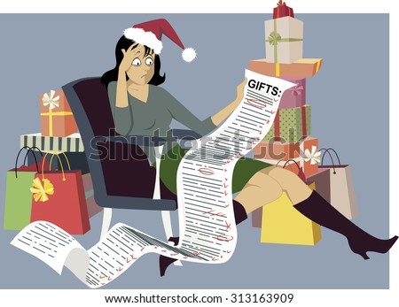 Exhausted woman in a Santa hat sitting with a long shopping list of gifts, surrounded by bags and gift boxes, vector illustration, EPS 8 - stock vector
