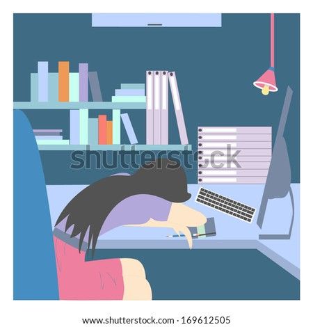 Exhausted Young Business Woman is Napping at Work  - stock vector