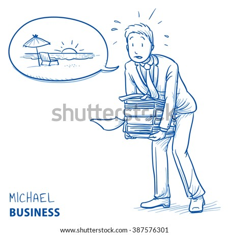 Exhausted young man in business suit carrying a heavy pile of documents and talking about vacation. Hand drawn line art cartoon vector illustration. - stock vector