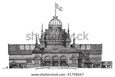 Exhibition building Copenhagen 1888 / illustration from Meyers Konversations-Lexikon 1897 - stock vector