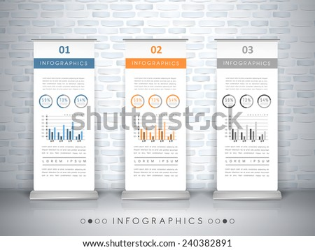 exhibition concept infographic template design with roll up banners element - stock vector