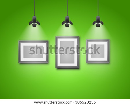 Exhibition green wall interior with blank frames illuminated with spotlights. Realistic 3d vector illustration - stock vector