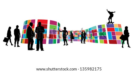 Exhibition hall. People visiting colorful exhibition area, gallery wall metro style. - stock vector