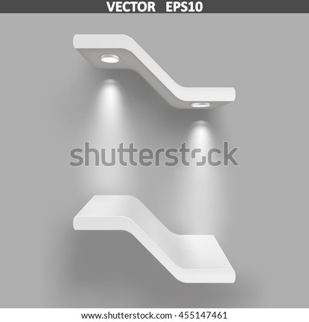 Exhibition shelves with light sources. Illustration isolated on gray background. Graphic concept for your design - stock vector
