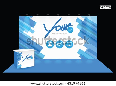 Exhibition Stand Black Blue Design Template - stock vector