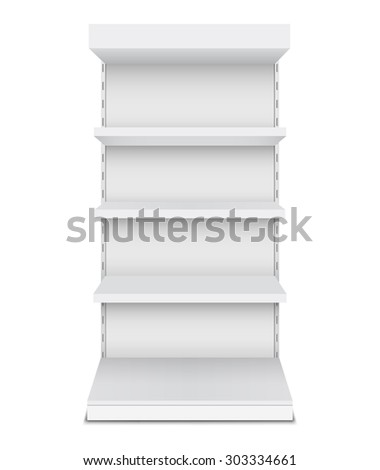 Exhibition stand shelves isolated on white background. - stock vector