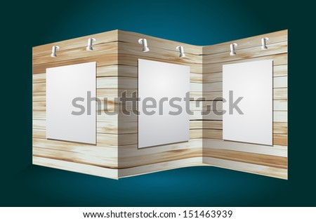 Exhibition stand with wood texture, Vector illustration modern design template - stock vector