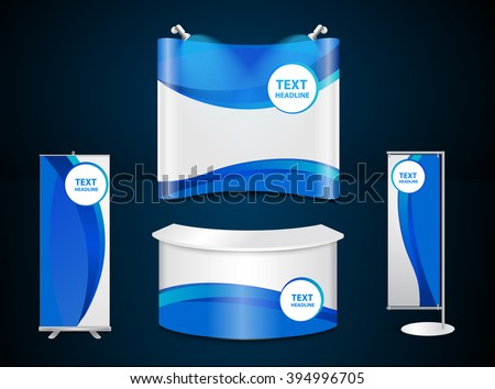 Exhibition stands with blue corporate identity template with digital elements, Vector illustration modern design