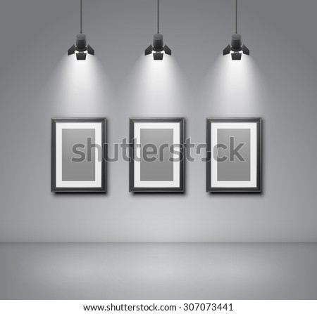 Exhibition  wall interior with blank frames illuminated with spotlights. Realistic 3d vector illustration - stock vector