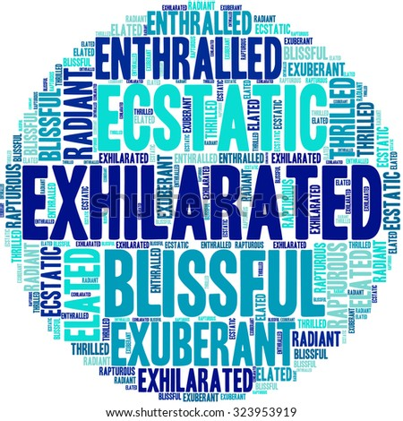 Exhilarated word cloud on a white background.
