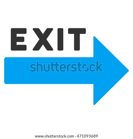 Exit Arrow icon. Vector style is bicolor flat iconic symbol with rounded angles, blue and gray colors, white background.