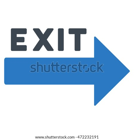 Exit Arrow icon. Vector style is bicolor flat iconic symbol with rounded angles, smooth blue colors, white background.