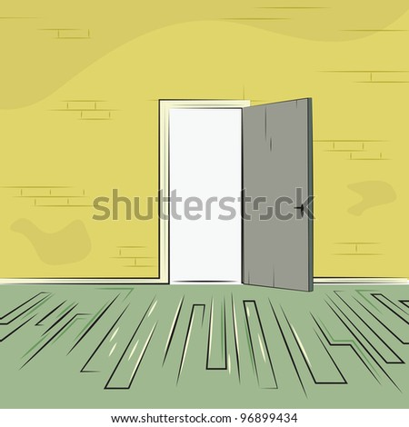 exit door from room with old brick wall and wooden floor, vector illustration - stock vector
