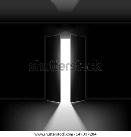 Exit door with light. Illustration on black empty background