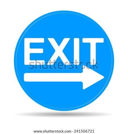 Exit icon - vector illustration with shadow on light background.