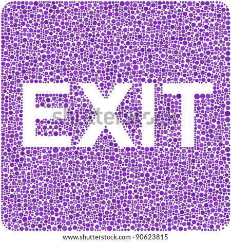 Exit! in a mosaic of purple circles