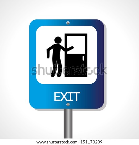 exit signal over white background vector illustration