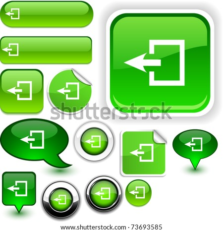 Exit vector glossy icons. - stock vector