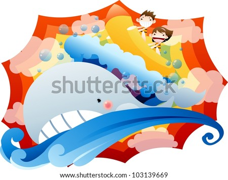 Exiting Summer Vacation and Happy Travel - playing water recreation with cute little couple in pretty fantasy land on a background of abstract colorful rainbow - stock vector
