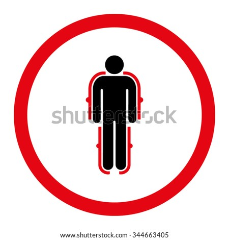 Exoskeleton vector icon. Style is bicolor flat rounded symbol, intensive red and black colors, rounded angles, white background.