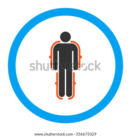 Exoskeleton vector icon. Style is flat rounded symbol, bright colors, rounded angles, white background.