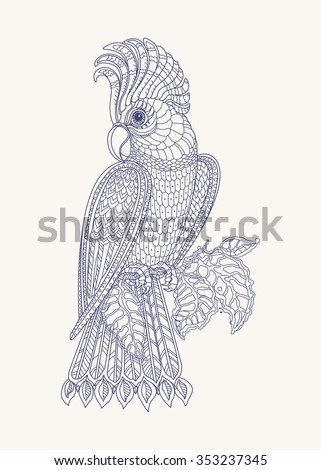 Exotic bird, fantastic branches, leaves. Contour indigo blue thin line drawing on a light beige Vector fantasy stylized cockatoo jungle parrot silhouette. T-shirt print.Coloring book page. Henna tattoo - stock vector
