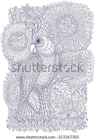 Exotic bird,fantastic flowers, branches, leaves. Contour thin line drawing with ethnic ornaments.Vector fantasy stylized cockatoo jungle parrot silhouette.T-shirt print.Coloring book page. Blue White - stock vector