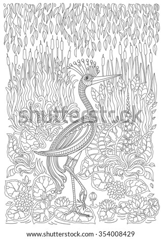 Exotic bird,fantastic flowers, branches, leaves. Contour thin line drawing with ethnic ornaments. Vector fantasy stylized heron silhouette on the lake.T-shirt print. Coloring book page. Black White - stock vector