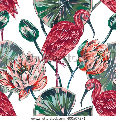 Exotic birds, tropical flowers, pink lotus, leaves, vector seamless floral pattern background - stock vector