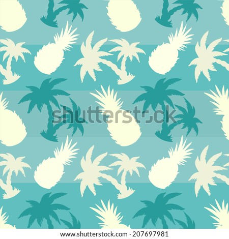 Exotic caribbean seamless pattern with silhouettes tropical coconut palm trees and pineapples. Summer, fruits, beach holidays. Endless print repeating texture. Striped background. Wallpaper - vector