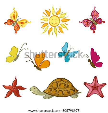 Exotic Cartoon Set, Sun, Butterflies, Sea Turtles and Starfish Isolated on White Background. Vector - stock vector