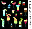 Exotic cocktails collection in neon colors - stock vector