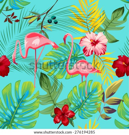 EXOTIC FLAMINGO PATTER / BACKGROUND DESIGN. Modern stylish texture. Repeating and editable vector illustration file. Can be used for prints, textiles, website blogs etc. - stock vector