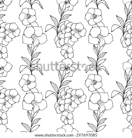 Exotic Floral Seamless Pattern. Black And White Outline Hand Drawn Flowers And Leaves. Summer Sketchy Illustration Print. Wrapping or Digital Paper. Good for textile design. - stock vector