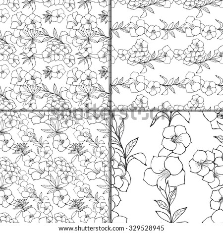 Exotic Floral Seamless Pattern Set. Black And White Outline Hand Drawn Flowers And Leaves. Summer Sketchy Illustration Prints. Wrapping or Digital Paper. Good for textile designs. - stock vector