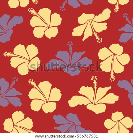 Exotic flowers in allover composition. Vector illustration. Pattern for summer fashion, interior, wallpaper. Seamless vector tropical design with hibiscus in neutral, red and yellow colors.