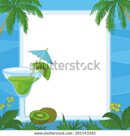 Exotic Food and Drink, Glass with Drinking Straw and Umbrella, Juice and Kiwi Fruit on the Background of an Empty Plate with Blue Frame with Pattern Of Waves, Flowers, Grass and Palm Trees. Vector - stock vector