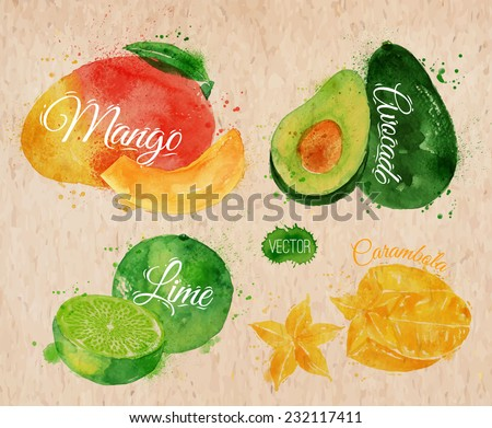 Exotic fruit set drawn watercolor blots and stains with a spray mango, avocado, carambola, lime in kraft - stock vector